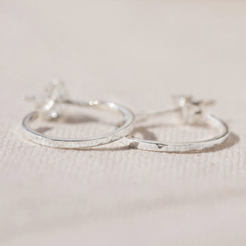 HAMMERED EXTRA SMALL REAL SILVER HOOP EARRINGS - AGONDA