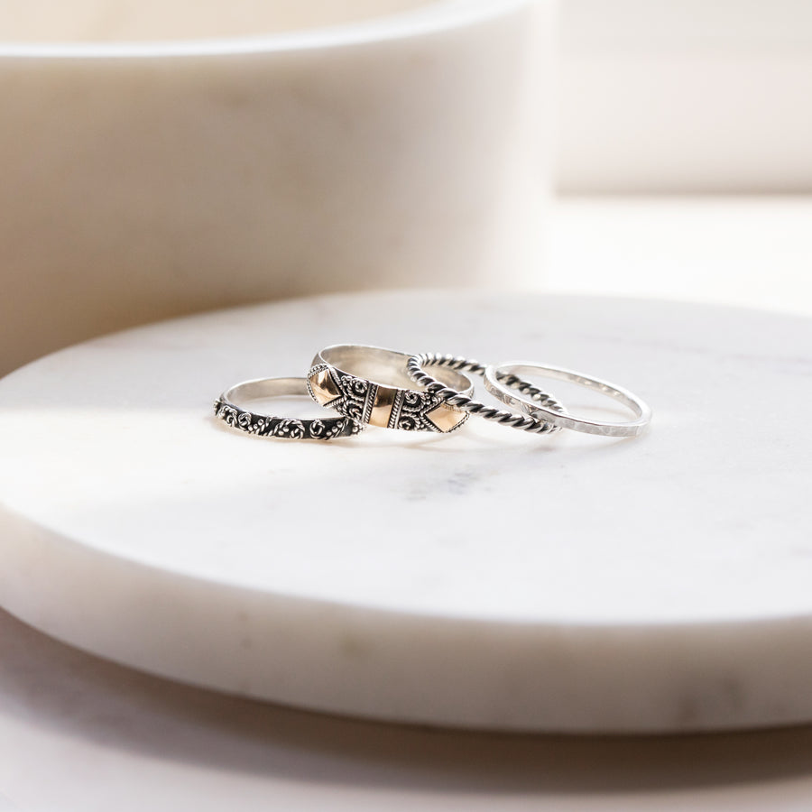 SET OF FOUR SOLID SILVER AND 18 GILDED GOLD RING SET - ELLA