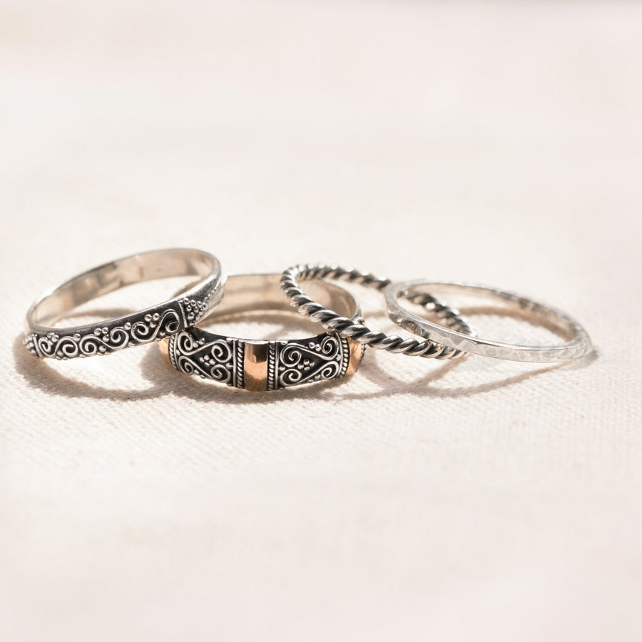 STYLISH SET OF FOUR SILVER AND GOLD STACKABLE RINGS - UBUD