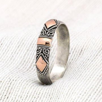 Ella - Handmade Solid Silver and 18k Gilded Rose Gold Band