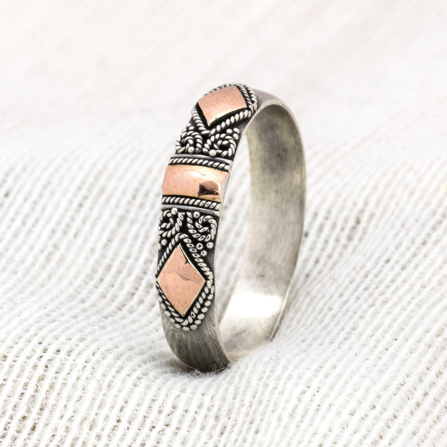 HANDMADE SOLID SILVER AND 18K GILDED ROSE GOLD BAND - ELLA