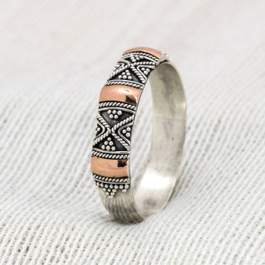 SOLID SILVER BOHO RING GILDED WITH 18K ROSE GOLD - SYDNEY