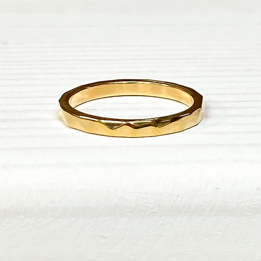 Skinny Geometric Gold Stacking Ring