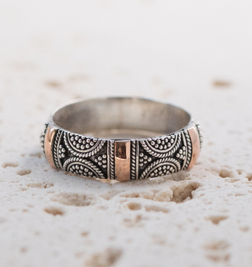 HANDMADE STERLING SILVER RING WITH 18K ROSE GOLD- BRIGHTON