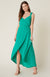 BB DAKOTA RUFFLE & CUT GREEN PEPPER DRESS