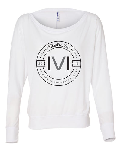 MANTRA VIE WOMENS OFF THE SHOULDER ORIGINAL LOGO SHIRT