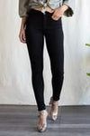 SNEAK PEEK MID RISE SKINNY BLACK JEANS