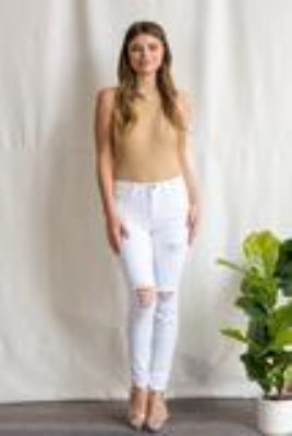 SNEAK PEEK DESTRESSED WHITE DENIM