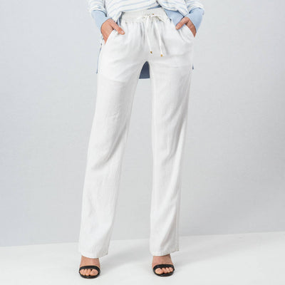 LINEN WAIST BAND DETAIL LONG CASUAL PANTS