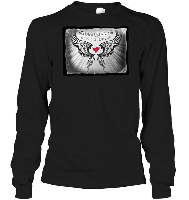 Tee - HELLACIOUS HEALING BLUES - Unisex Long Sleeves - 2 Colors!