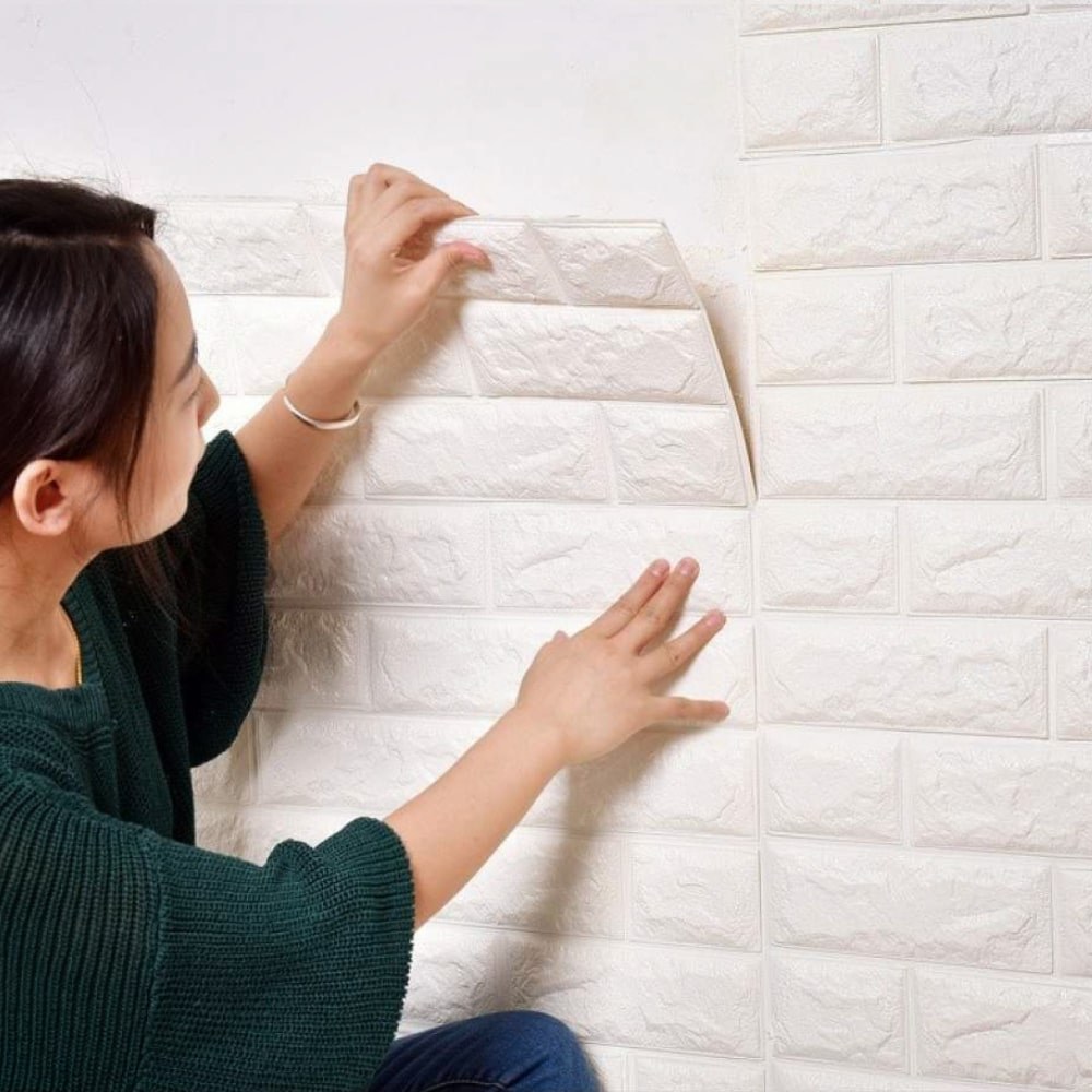 Faux 3D Brick Wallpaper Adhesive Tiles - hauzstyle.com