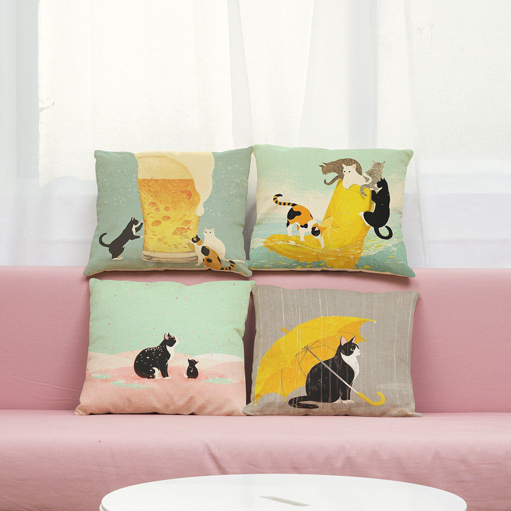 Love Cat - Nordic Pillow Cover - hauzstyle.com
