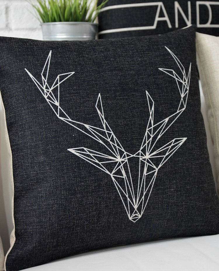 Wireframe Deer Head Pillow Cover - hauzstyle.com