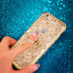 Glitter - Magnificent iPhone Case With Ring Holder - hauzstyle.com