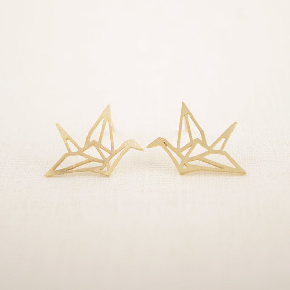 Origami Crane Stud Earrings - hauzstyle.com