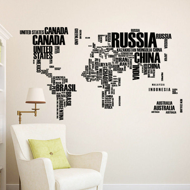 Typographical World Map Decal - hauzstyle.com