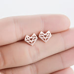 Origami Fox Stud Earrings - hauzstyle.com