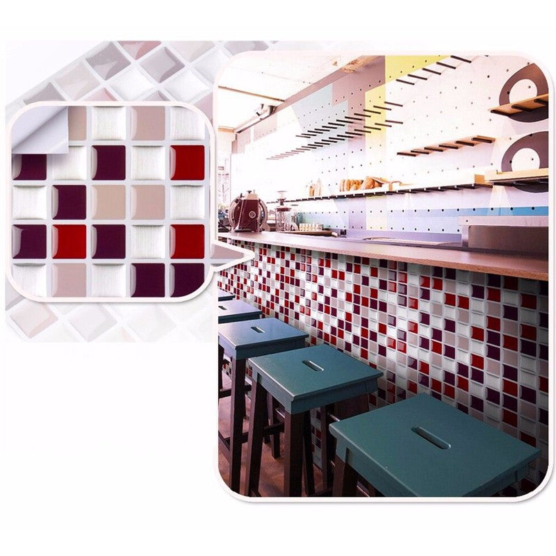 FAUX 3D Mosaic Glass Tile Decal Panels- Modern Warm - hauzstyle.com