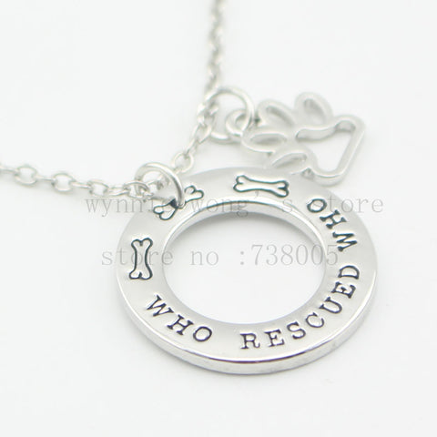 """Who Rescued Who"" Charm Necklace"