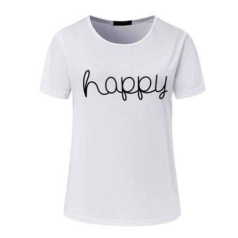 Women's Happy T-Shirt in Grey, Black, or White