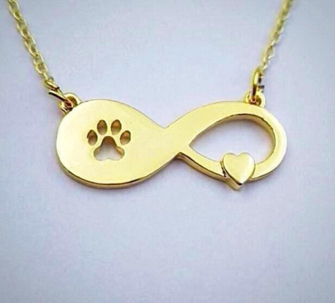 Infinity Heart & Paw Necklace