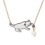 Playful Kitten Necklace, Silver Pendant & Gold Tone Link Chain with Faux Pearl Bead