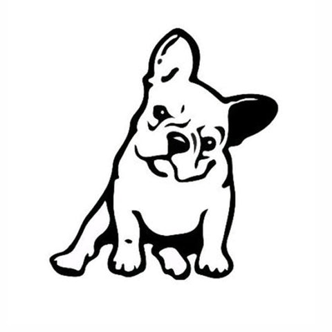 French Bulldog Vinyl Window, Black or Silver
