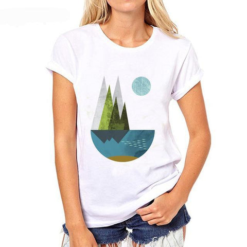 Geometric Nature Print T-shirts for Women, 4 Prints to Choose From