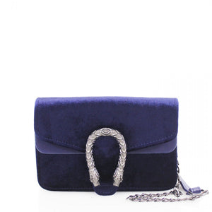 Velvet mini Crossbody navy bag