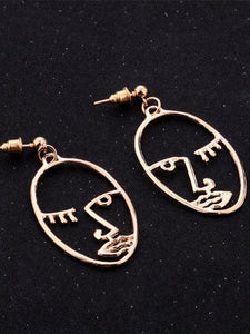 Face Dangle Earrings Gold