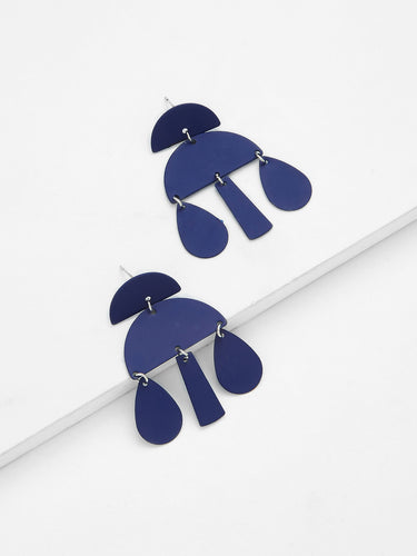 Blue cloud earrings wolf and moon