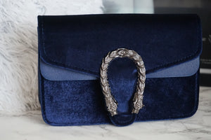 Small velvet navy bag