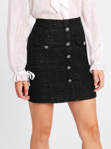 Black Tweed Skirt with Buttons