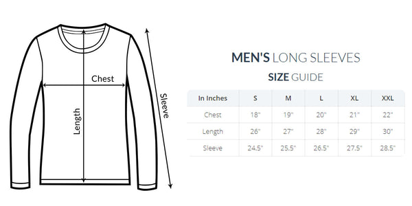 mens long sleeve size chart