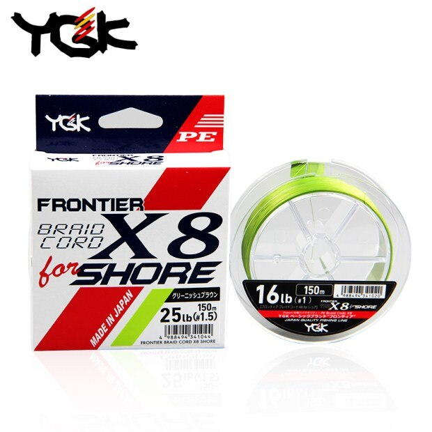 YGK Frontier Braid Cord X8 for Shore PE Braided line | 25lb-30lb | 150m japan