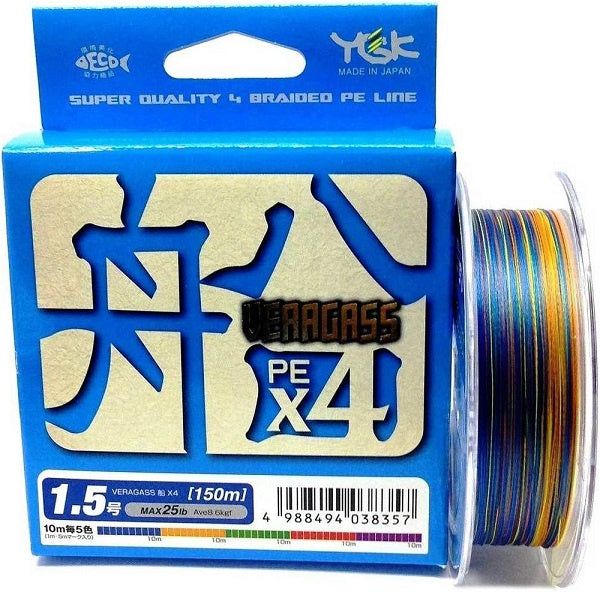 YGK VERAGASS  PE X4  HI-QUALITY PE Braided line | 20lb-35lb | 100m-150m japan, Braided Line, YGK, Cabral Outdoors - Cabral Outdoors