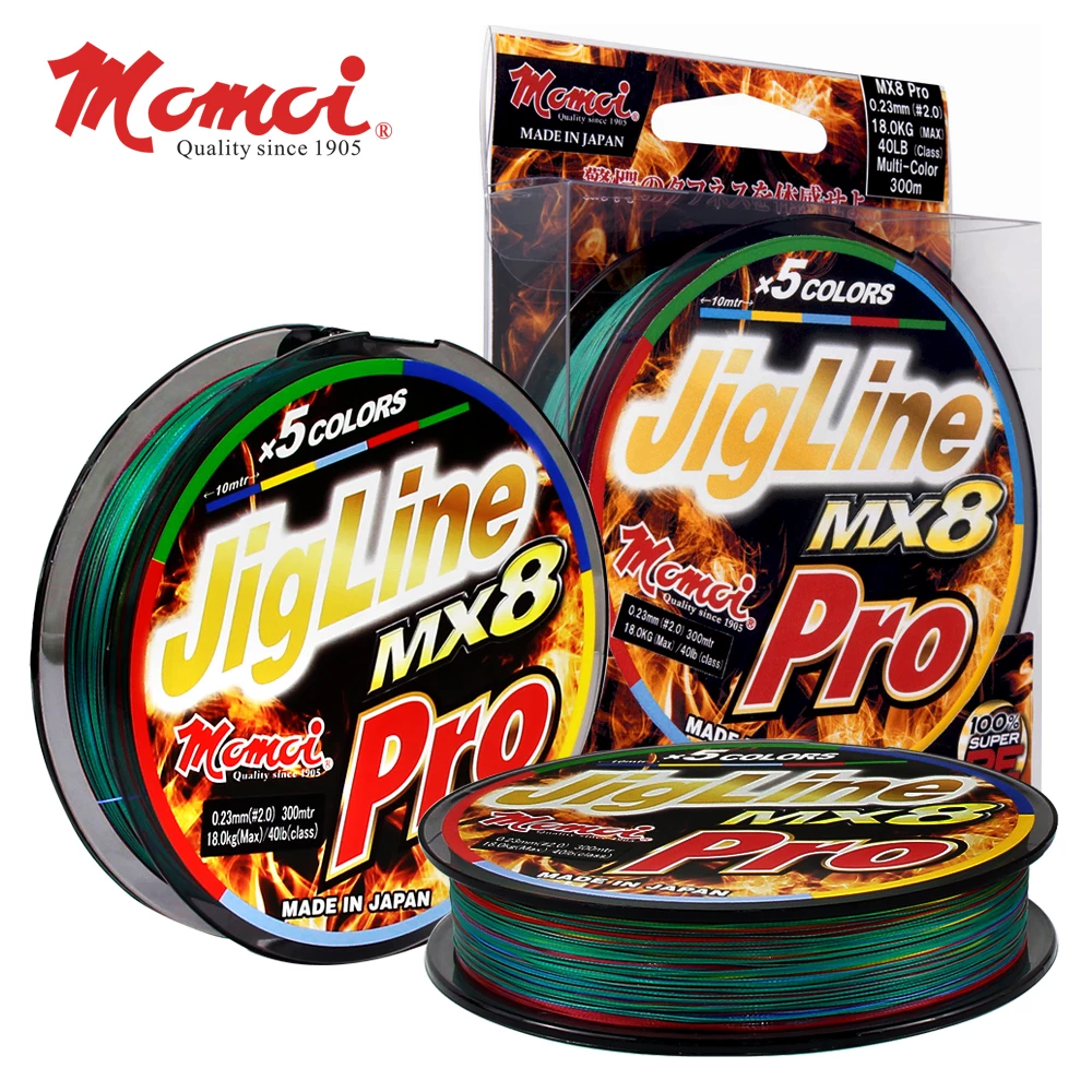 Momoi JigLine MX8 Pro Braided Fishing Line 200mtr | 0.18mm-0.26mm | 25lb-50lb | Multi-Color - Cabral Outdoors