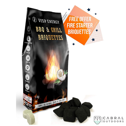 Vesp Energy Coconut Shell Charcoal Briquettes (3kg & 5kg) - Cabral Outdoors