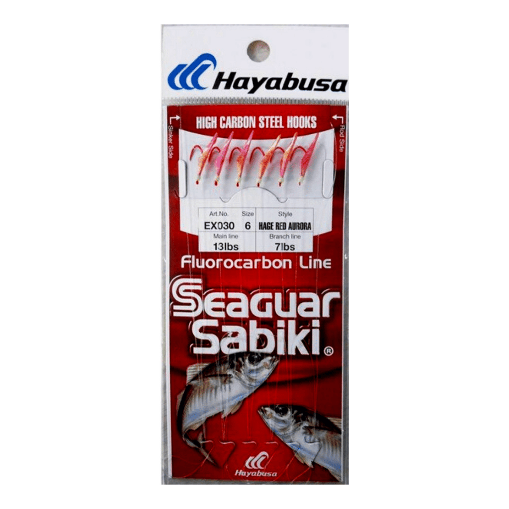 HAYABUSA SABIKI EX030 – Hage Red Fish Skin – Aurora Finish, Hooks, Hayabusa, Cabral Outdoors - Cabral Outdoors