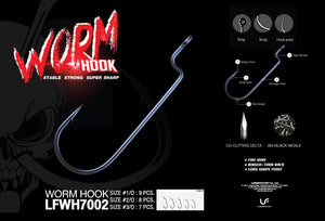 Lure Factory Worm Hook 7002 | Size 1/0, 2/0, 3/0, Hooks, Lures Factory, Cabral Outdoors - Cabral Outdoors