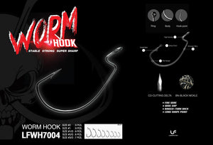 Lure Factory Worm Hook 7004 | Size 2/0, 3/0, Hooks, Lures Factory, Cabral Outdoors - Cabral Outdoors