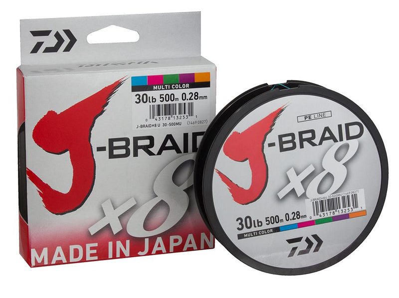 DAIWA J-BRAID X8 MULTICOLOR 300M | 0.28mm | 58lb, Braided Line, Daiwa, Cabral Outdoors - Cabral Outdoors