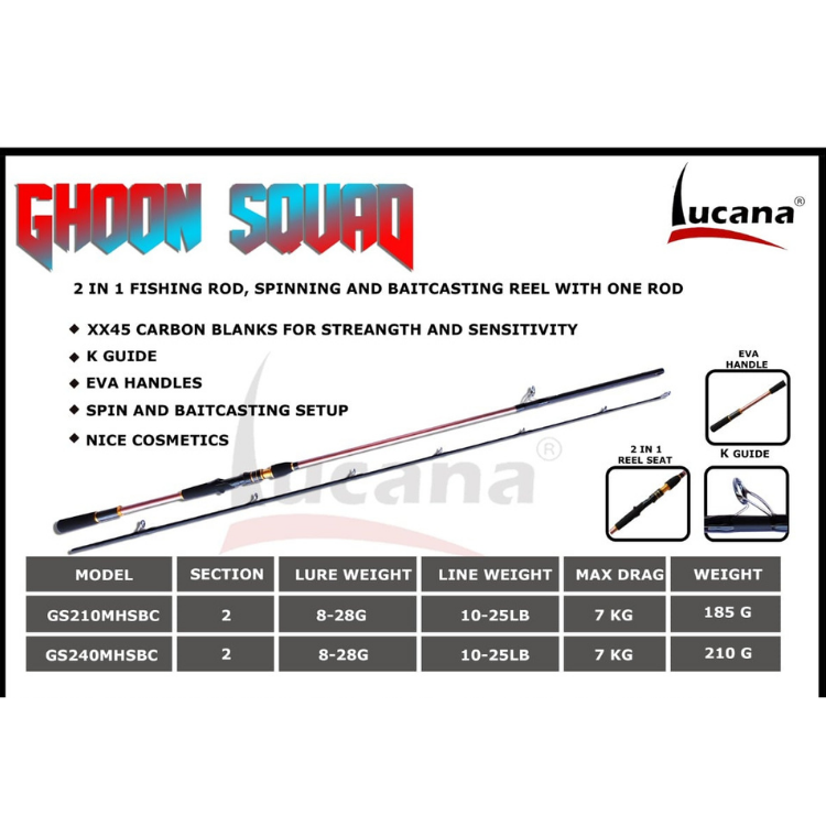 Lucana Ghoon Squad K-Guide 7ft and 8ft 2 in 1 Fishing Rod - Cabral Outdoors