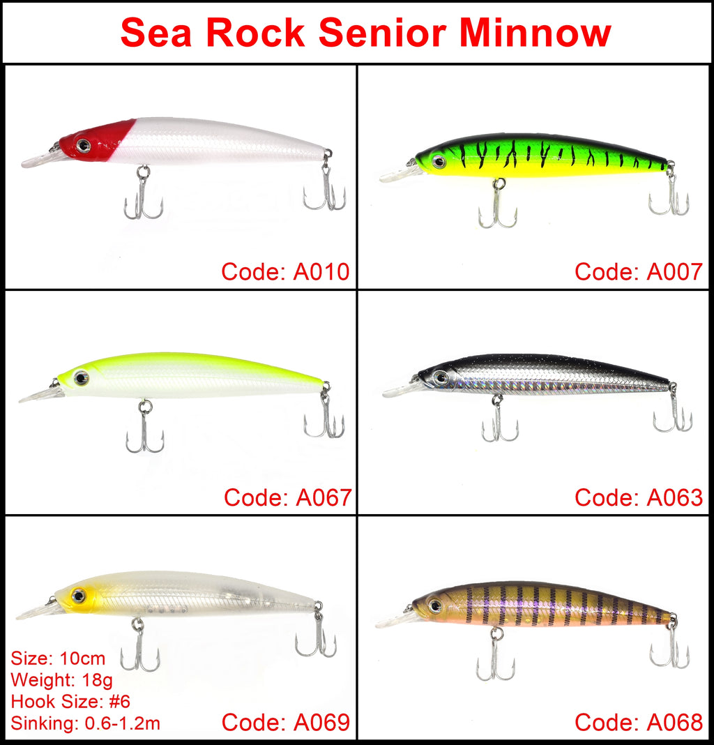 Sea Rock Senior Minnow Hard lure 10cm/18g 1pcs/pkt, Hard Baits, Sea Rock, Cabral Outdoors - Cabral Outdoors