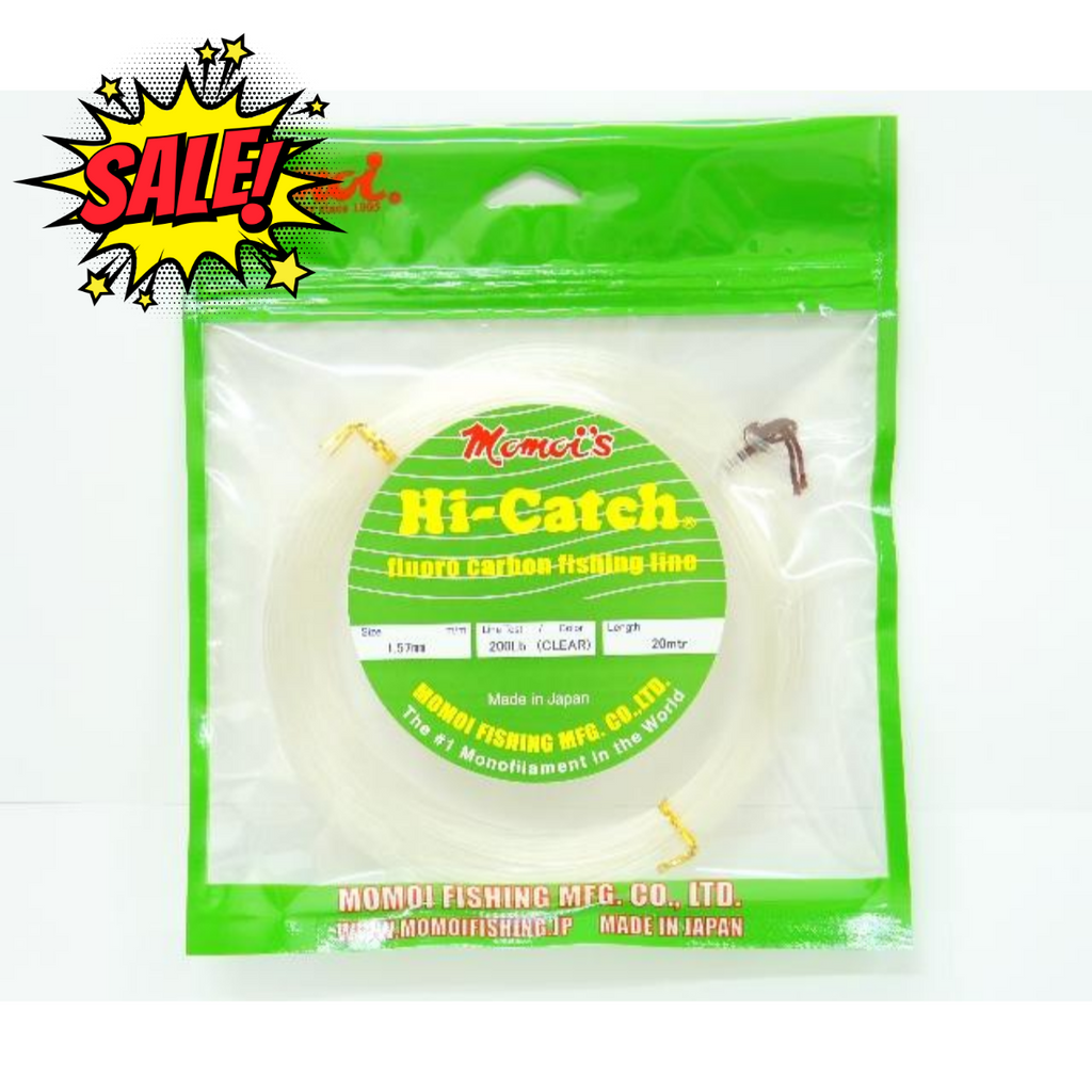 Momoi Hi-Catch Fluoro Carbon Leader 20mtr | 30lb-150lb | 0.52mm-1.28mm | Clear - Cabral Outdoors