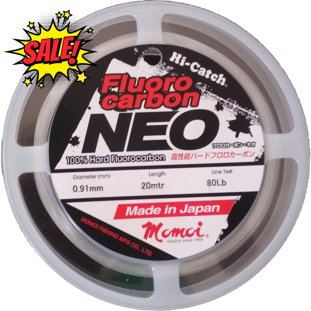 Momoi Hi-Catch Neo Fluoro Carbon Leader 20mtr | 40lb-80lb | 0.62mm-0.91mm | Clear - Cabral Outdoors