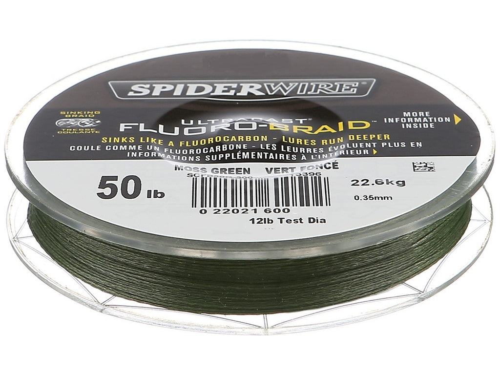 SPIDERWIRE ULTRACAST FLUORO-BRAID BRAIDED SUPERLINE, 50LB. /125YD., MOSS GREEN, Braided Line, Spider Wire, Cabral Outdoors - Cabral Outdoors