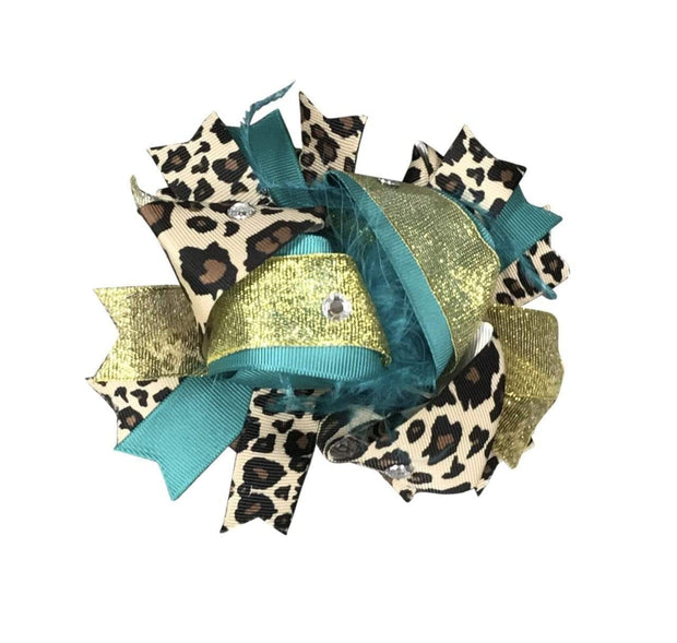 ILTEX Apparel Accessory Bow - Teal Gold Cheetah
