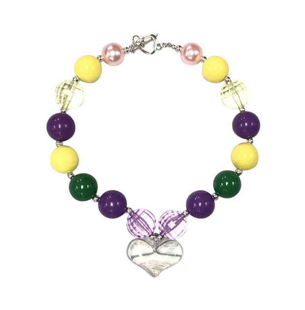 ILTEX Apparel Accessory Bubblegum Necklace - Heart Mardi Gras
