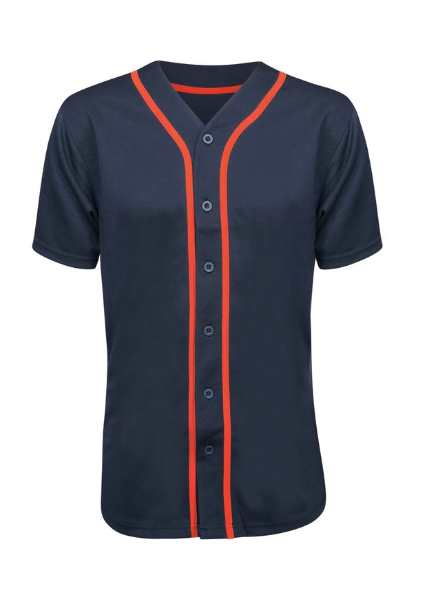 ILTEX Apparel Adult Clothing Baseball Button Down Jersey Navy Orange